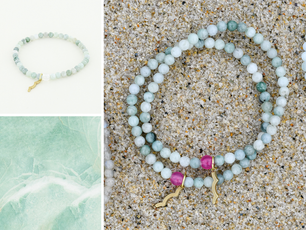 Stackable Rayminder UV Awareness bracelets for sun safety and uv protection in mynamar jade