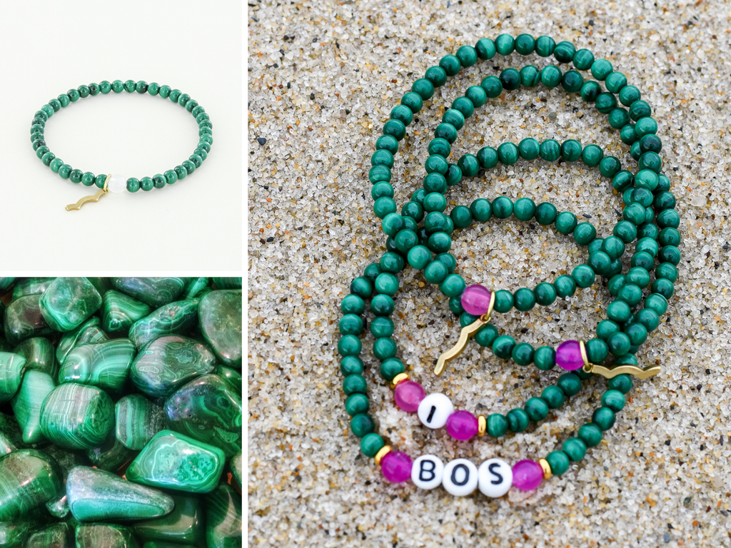 Stackable Rayminder UV Awareness bracelets for sun safety and uv protection in malachite