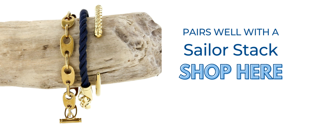 women's nautical sailormade sailing bracelet stack for the yachting lifestyle