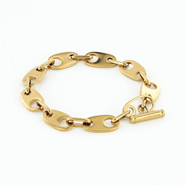 Brummel Links Chain Bracelet in polished brass