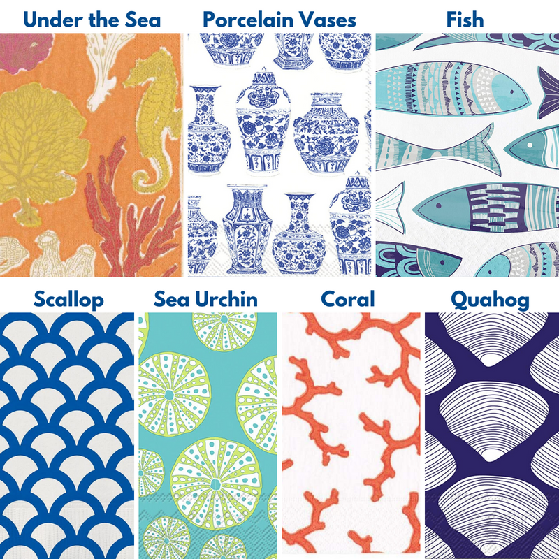 make your own Decoupage oyster shell kit with coastal inspired tissue paper