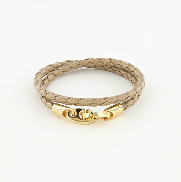 Endeavour Leather Double Wrap Bracelet with Polished Brass Brummels in seed