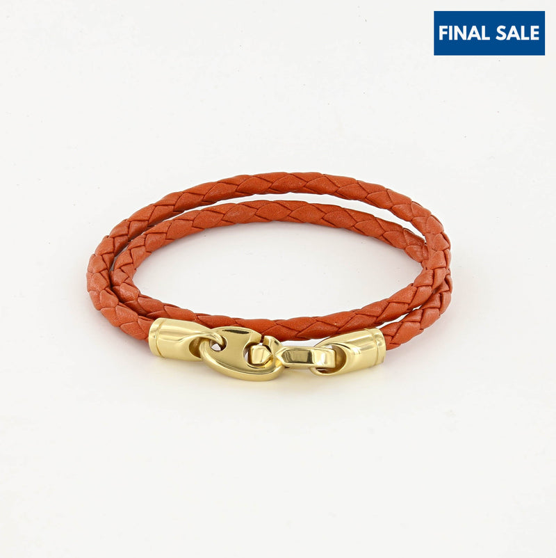 Endeavour Leather Double Wrap Bracelet with Polished Brass Brummels in orange