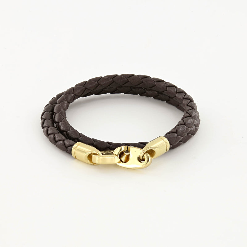 Endeavour Leather Double Wrap Bracelet with Polished Brass Brummels in deep dark brown