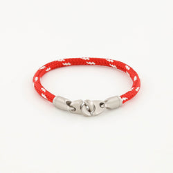 Contender Single Wrap Rope Bracelet with Stainless Steel Brummels in Red and White