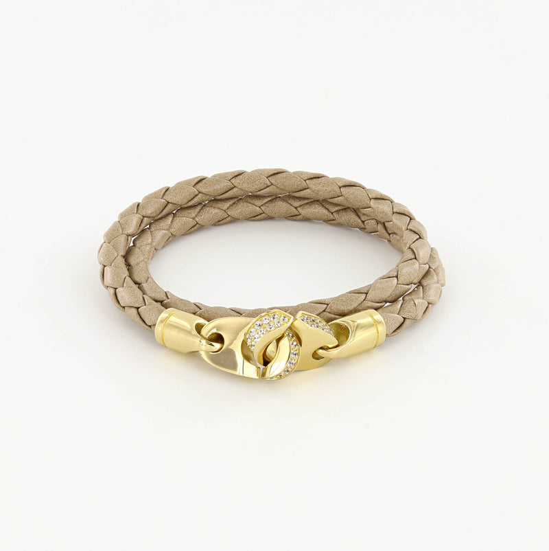 Luster Double Wrap Leather Brummel Bracelet Polished Brass and Seed