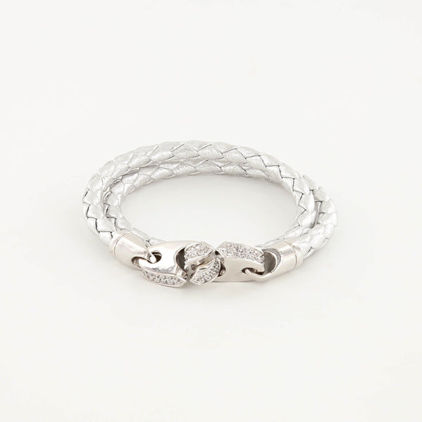 Luster Double Wrap Leather Brummel Bracelet Polished Silver and Silver