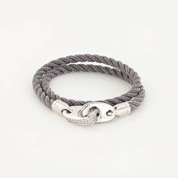 Luster Double Wrap Leather Brummel Bracelet in Polished Silver and Charcoal Gray