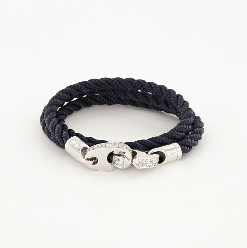 Luster Double Wrap Rope Brummel Bracelet Polished Silver and Navy