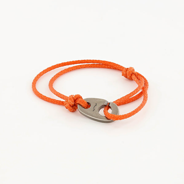 Charger Marine Cord Bracelet in Weathered Silver Faded Orange