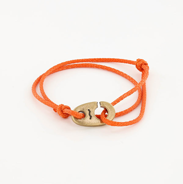 Charger Marine Cord Bracelet in Weathered Brass Faded Orange
