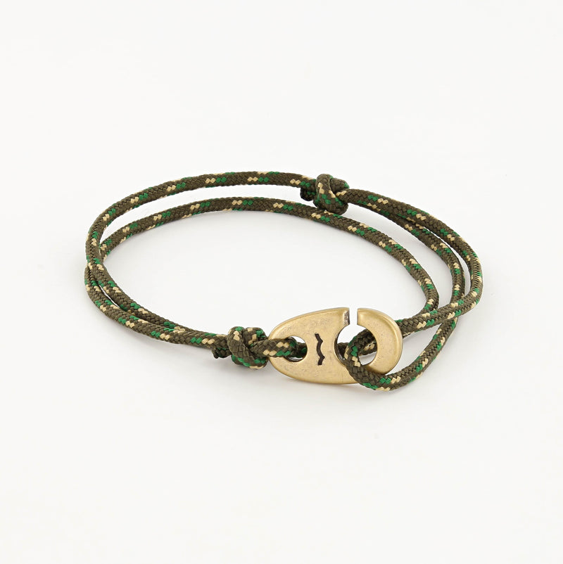 Charger Marine Cord Bracelet in Weathered Brass Camo