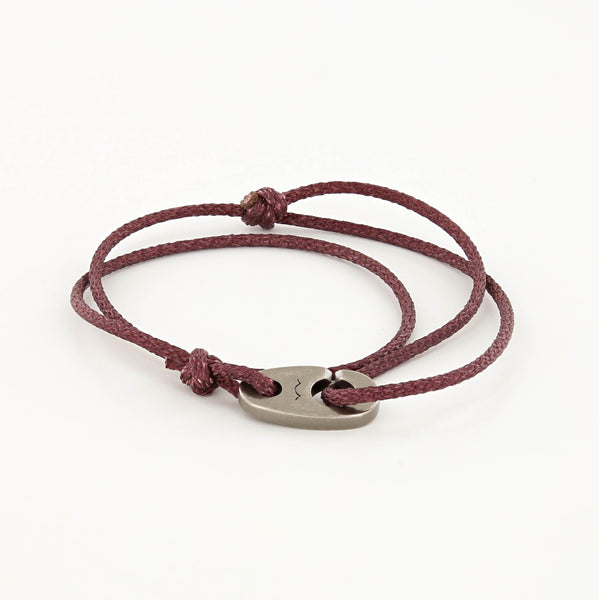 Charger Marine Cord Bracelet in Weathered Silver Faded Maroon