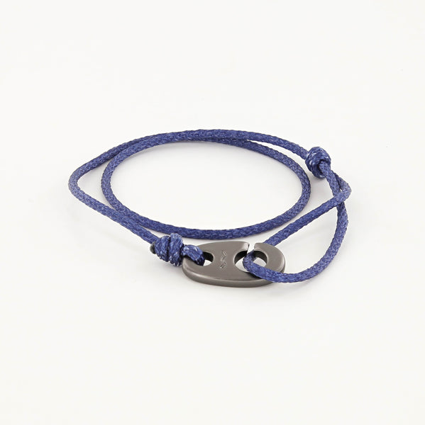 Charger Marine Cord Bracelet in Matte Black Faded Blue