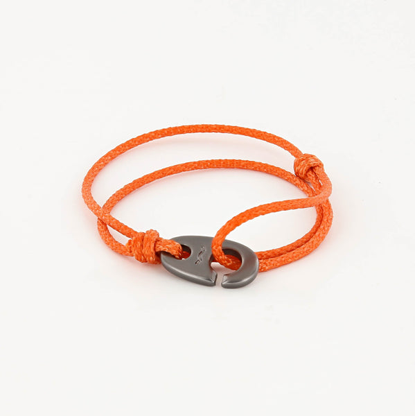 Charger Marine Cord Bracelet in Matte Black Faded Orange