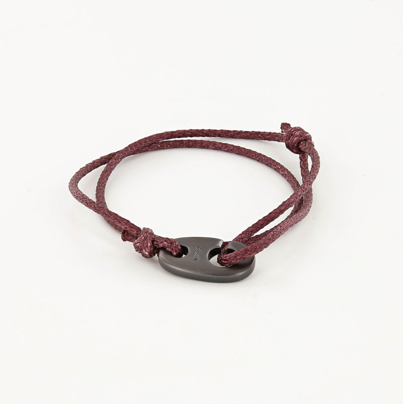 Charger Marine Cord Bracelet in Matte Black Faded Maroon