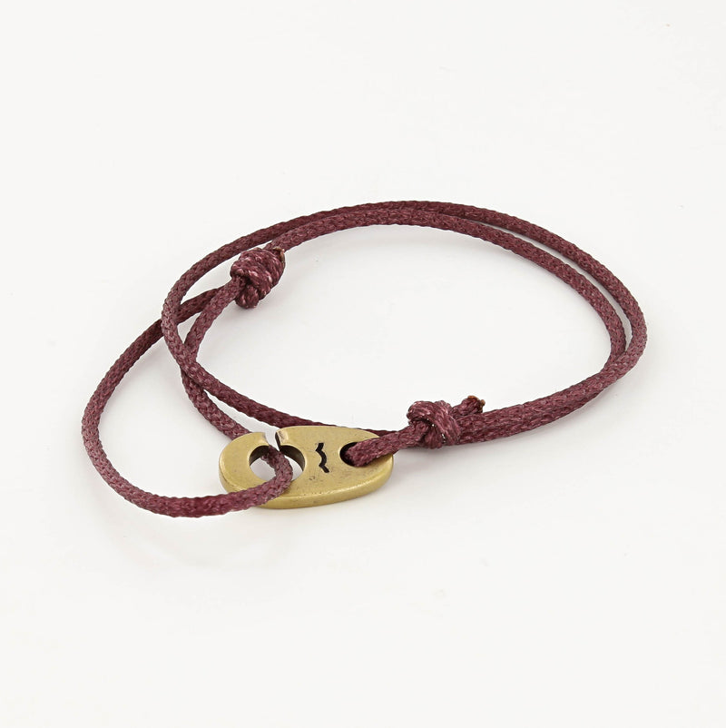 Charger Marine Cord Bracelet in Weathered Brass Faded Maroon
