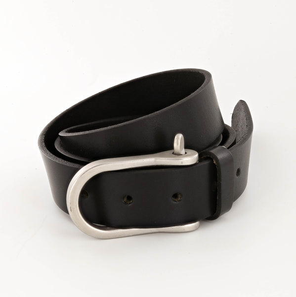 Standard Leather Belt with Shackle Buckle in Nickel and Black