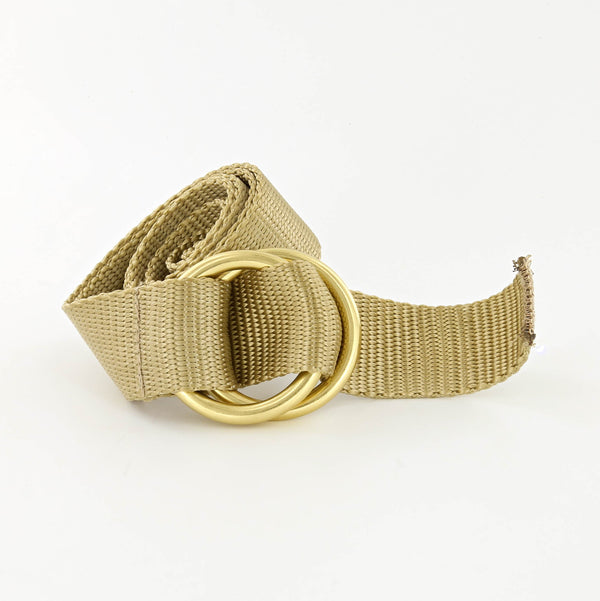 Her Webbing Belt with Brass O-rings in Taupe
