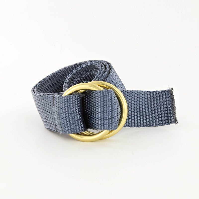 Her Webbing Belt with Brass O-rings in Charcoal Gray