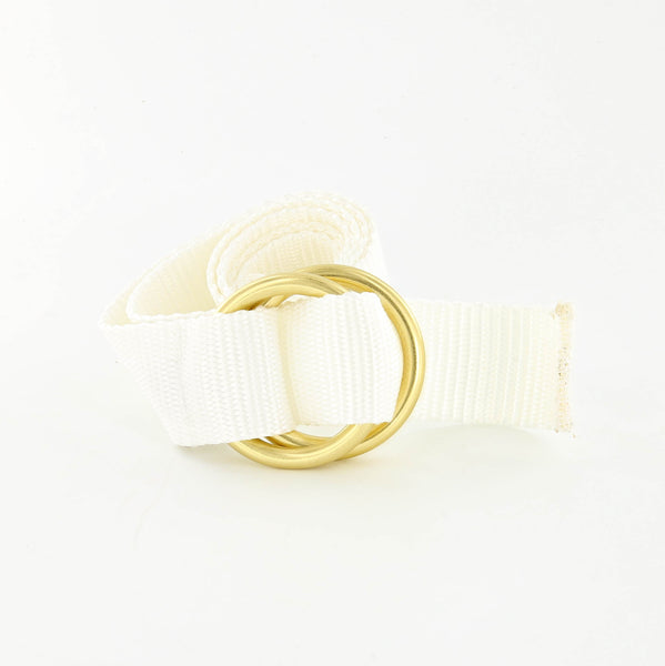 Her Webbing Belt with Brass O-rings in White