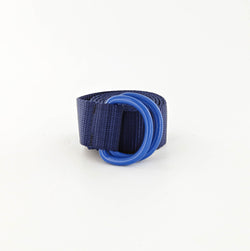 His Webbing Belt with Powder Coated D-rings in Ocean Blue and Blue
