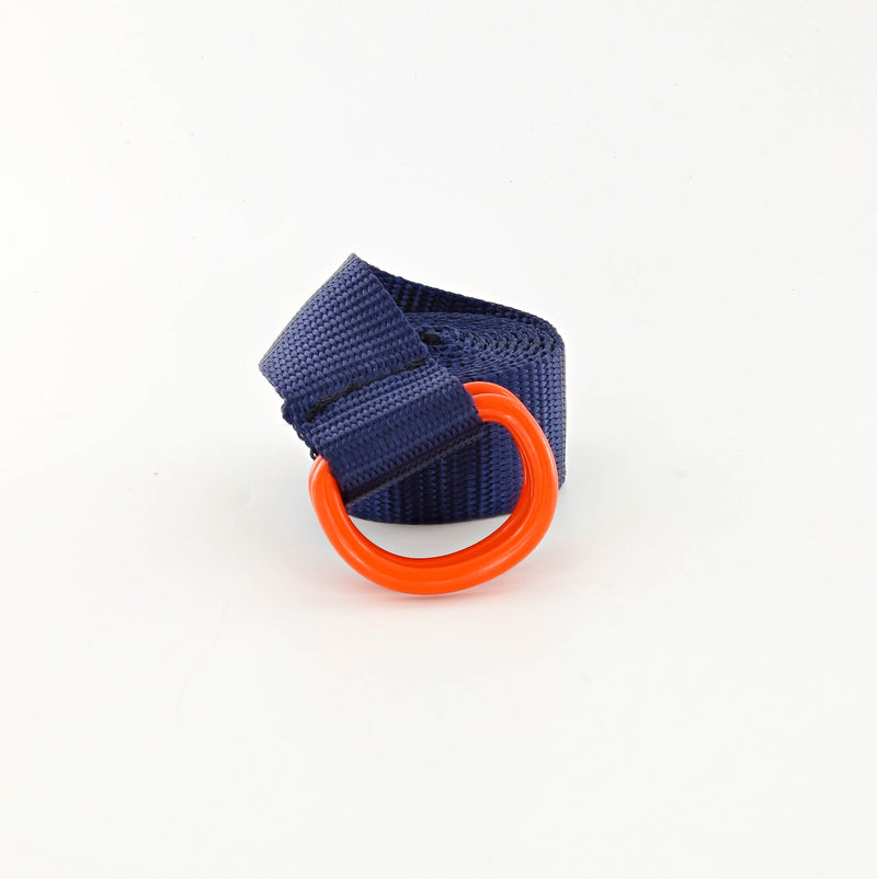 His Webbing Belt with Powder Coated D-rings in Orange and Navy