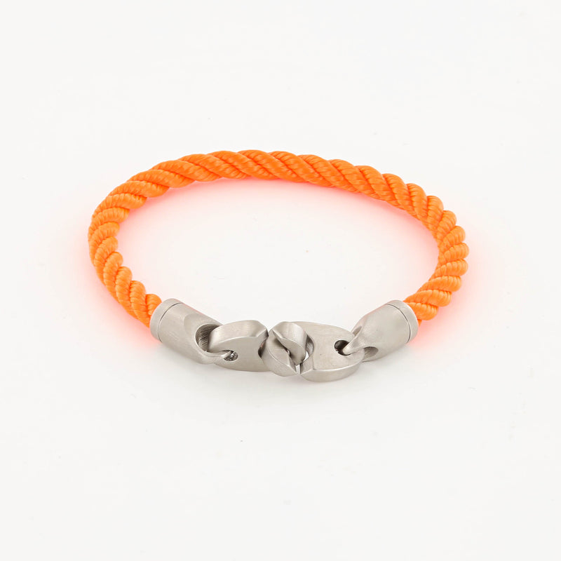 men's catch single rope bracelet with stainless steel brummel clasp in buoy orange