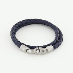 Catch Double Wrap Leather Bracelet with Matte Stainless Steel Brummels