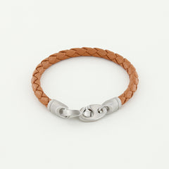 Catch Single Wrap Leather Bracelet with Matte Stainless Steel Brummels