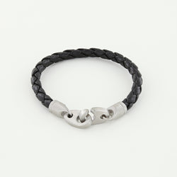 Catch Single Wrap Leather Bracelet with Matte Stainless Steel Brummels in Black