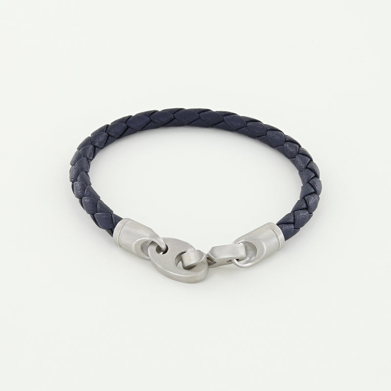 Catch Single Wrap Leather Bracelet with Matte Stainless Steel Brummels in Midnight Navy