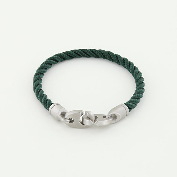 Catch Single Wrap Rope Bracelet with Matte Stainless Steel Brummels in Evergreen