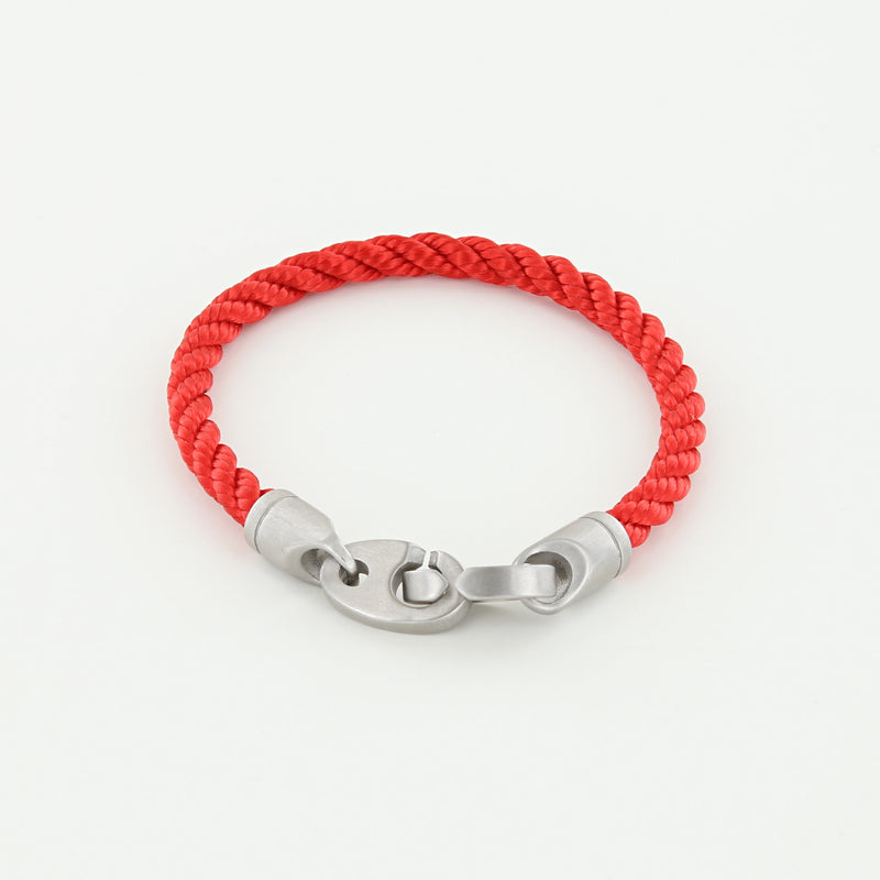 Catch Single Wrap Rope Bracelet with Matte Stainless Steel Brummels in Reel Red