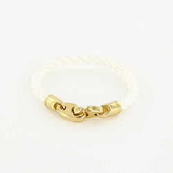 Endeavour Single Wrap Rope Bracelet with Polished Brass Brummels in white