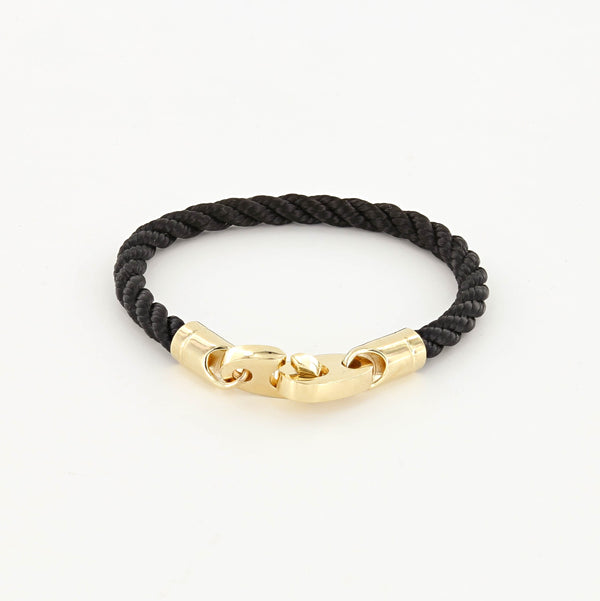 Endeavour Single Wrap Rope Bracelet with Polished Brass Brummels in black