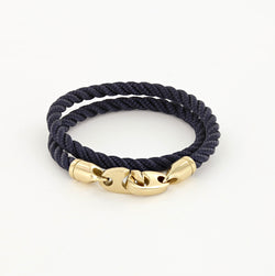 Endeavour Double Wrap Rope Bracelet with Polished Brass Brummels in navy