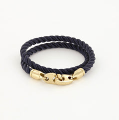 Endeavour Double Wrap Rope Bracelet with Polished Brass Brummels