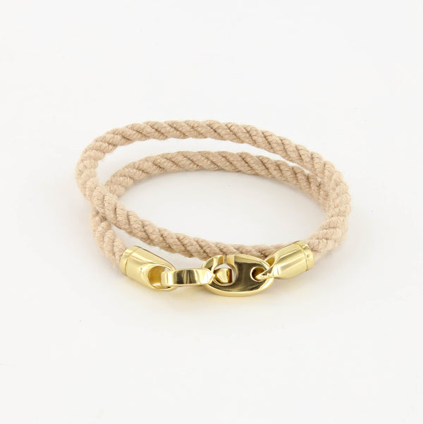 Endeavour Double Wrap Rope Bracelet with Polished Brass Brummels in wheat
