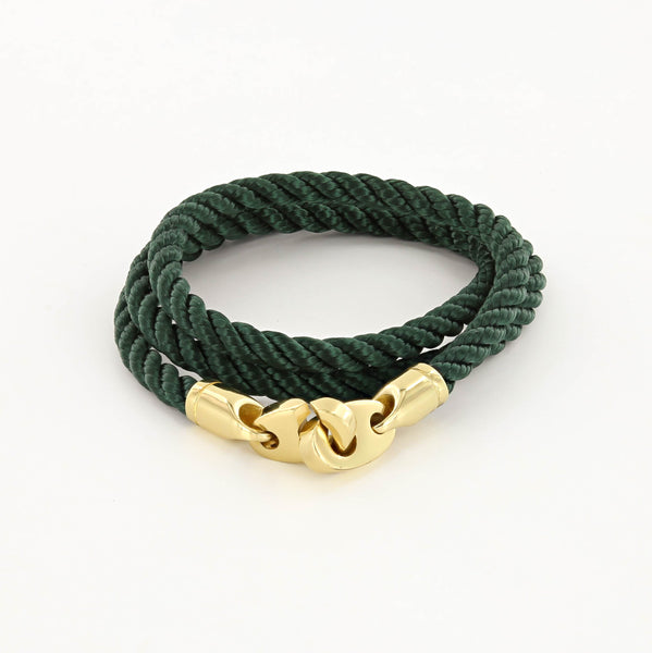 Endeavour Triple Wrap Rope Bracelet with Polished Brass Brummels in evergreen
