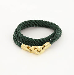 Endeavour Triple Wrap Rope Bracelet with Polished Brass Brummels