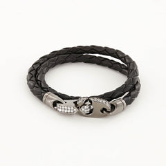 Luster Double Wrap Leather Brummel Bracelet