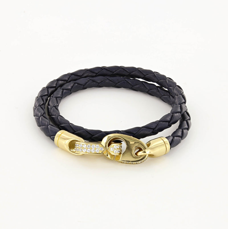 Luster Double Wrap Leather Brummel Bracelet in Polished Brass and Black