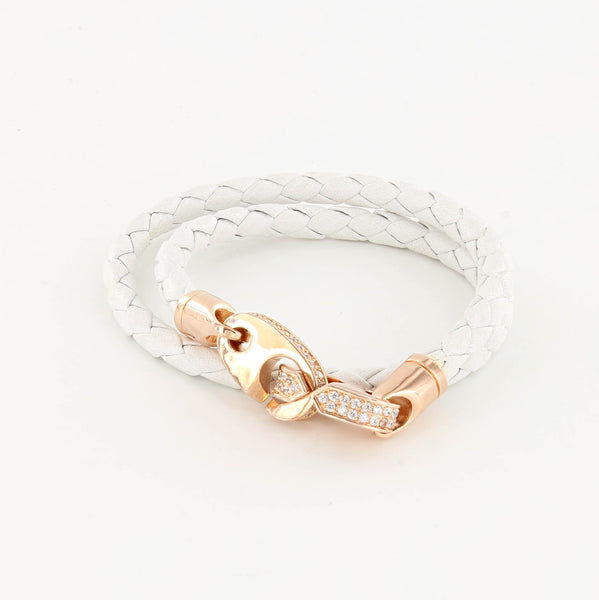 Luster Double Wrap Leather Brummel Bracelet White and Rose Gold