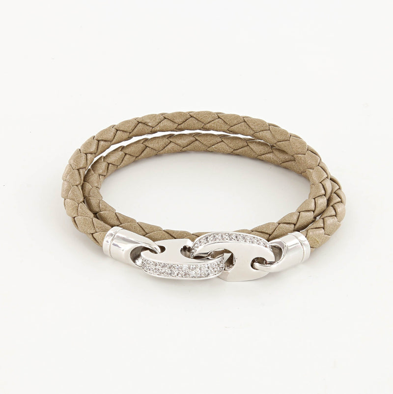 Luster Double Wrap Leather Brummel Bracelet Polished Silver and Seed