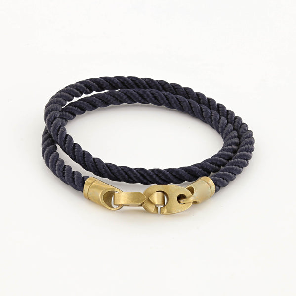 Journey Double Wrap Rope Bracelet with Matte Brass Brummels in Midnight Navy