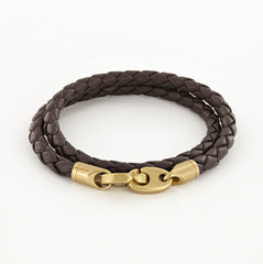Journey Double Wrap Leather Bracelet with Matte Brass Brummels