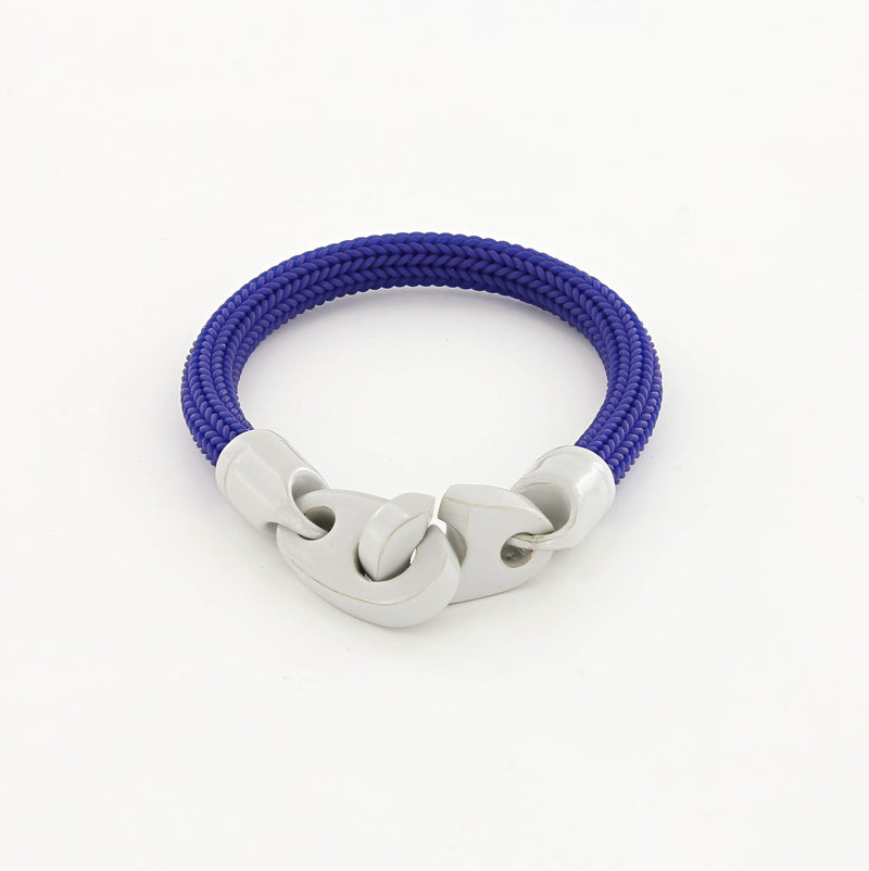 men's big brummel sailor bracelet with powder coated brummels and braided rubber, light gray and blue