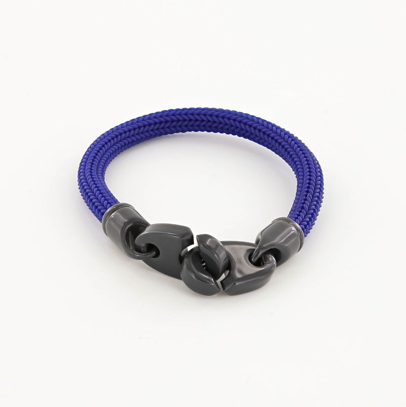 Recruit Braided Rubber Bracelet with Large Powder Coated Brummels in Dark Gray and Blue