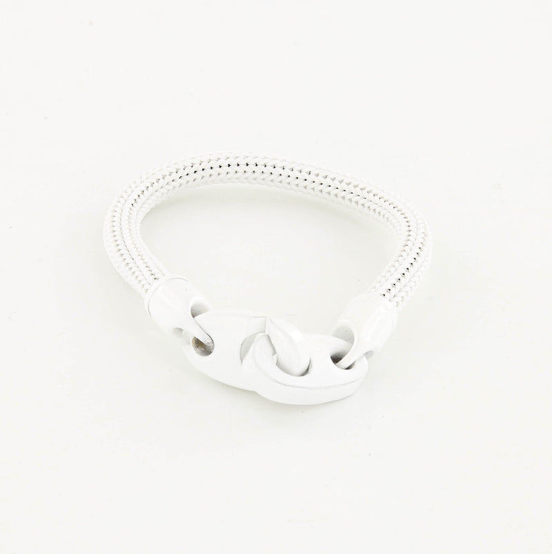 Recruit Braided Rubber Bracelet with Large Powder Coated Brummels in White and White